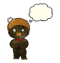 Cartoon little black bear with thought bubble vector