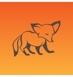 Fox sign in curve lines vector image