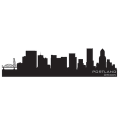 Portland oregon skyline detailed silhouette vector