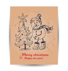 Christmas card with a snowman in the middle vector