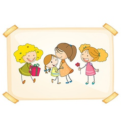 A frame with happy kids vector