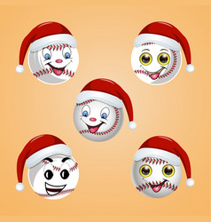 Baseball ball in the hat of santa claus vector