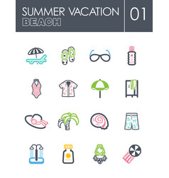 beach icon set summer vacation vector image vector image