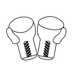 Boxing gloves sport flat vector