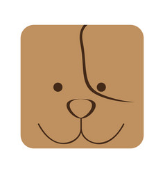 Brown square dog animal face expression vector