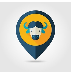 Buffalo bison ox flat pin map icon animal head vector