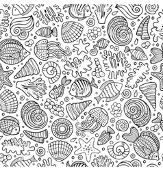 Cartoon under water life seamless pattern vector image vector image