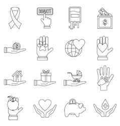 Charity icons set flat style vector
