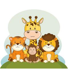 Cute adorable animal cartoon vector