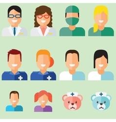 Doctors avatars set vector image vector image
