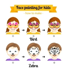 face painting for girls 3 vector image vector image