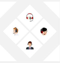 Flat center set of telemarketing headphone vector