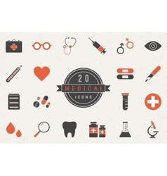 Flat Medical Icons Collection vector image vector image