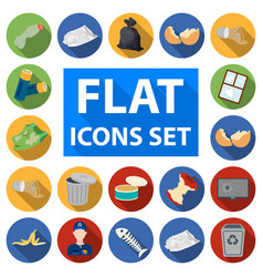 Garbage and waste flat icons in set collection for vector