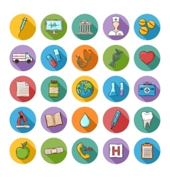 Health care doddle icons set vector image