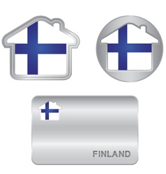 Home icon on the Finland flag vector image vector image