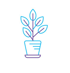 line natural plant with leaves inside flowerpot vector image vector image
