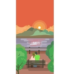 lovers on a bench watching the sunrise vector image vector image