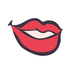 Mouth lips smile happy cartoon icon vector