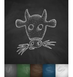 Muzzle cow icon vector