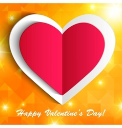 Paper heart isolated on shiny orange background vector image