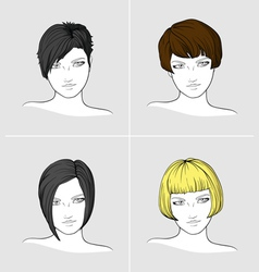 Portraits of women with different haircuts vector image vector image