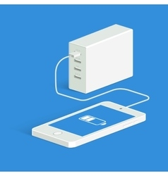 Powerbank charging a white smartphone Isometric vector image