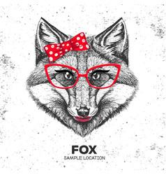 retro hipster animal fox hand drawing muzzle vector image