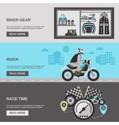 Rider banner set vector