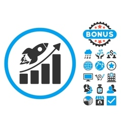 Rocket Startup Graph Flat Icon with Bonus vector image vector image