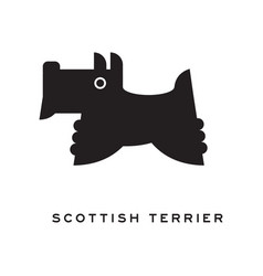 scottish terrier dog silhouette isolated on white vector image vector image