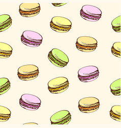 seamless beige background with colored macaroons vector image vector image