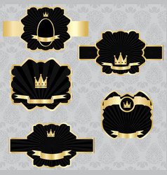 set black gold-framed labels vector image vector image