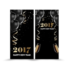 Set of luxury christmas new year banners with vector