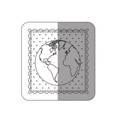 Sticker contour frame of world map with background vector