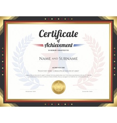 Certificate achievement gold black goldstar wreath vector
