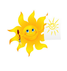 Funny cartoon sun painted picture vector