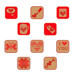 Cross stitch valentine icons collection two vector