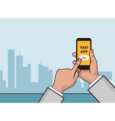 Taxi service app hand with smartphone and vector