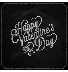 Valentines day chalk vintage lettering background vector