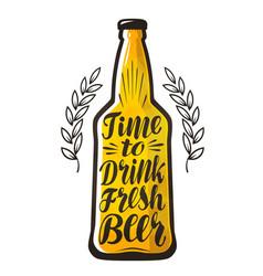 Bottle of beer drink brewery label lettering vector