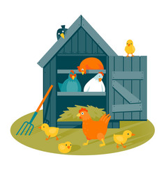 Henhouse on a green lawn vector