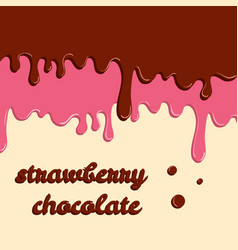 Dripping donut glaze background strawberry and vector