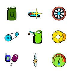 Car repairing icons set cartoon style vector