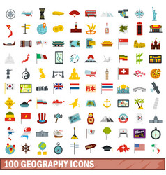 100 geography icons set flat style vector image