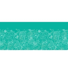 Emerald green floral lineart horizontal seamless vector