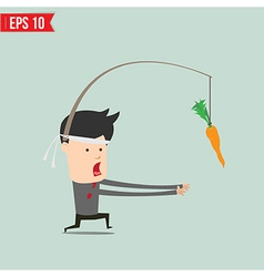 Cartoon business man trying to reach a carrot - vector