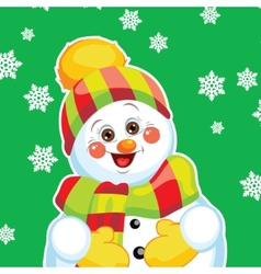 Snowman on green background with patterns vector