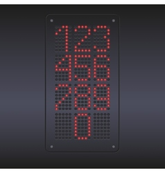 Colorful red led panel with numbers vector