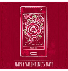 Red valentine card with smartphone and roses vector
